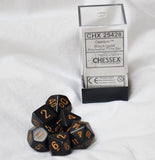 Chessex Opaque Black/Gold Polyhedral Die Set