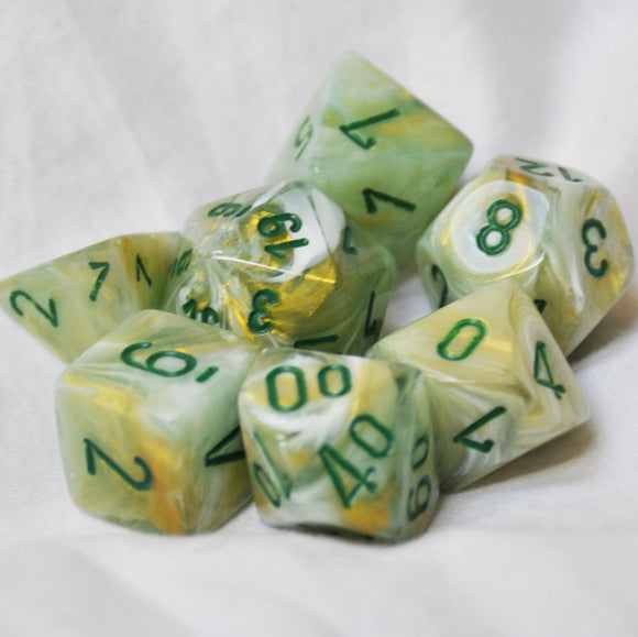 Chessex Marble Green/dark green Polyhedral Die Set