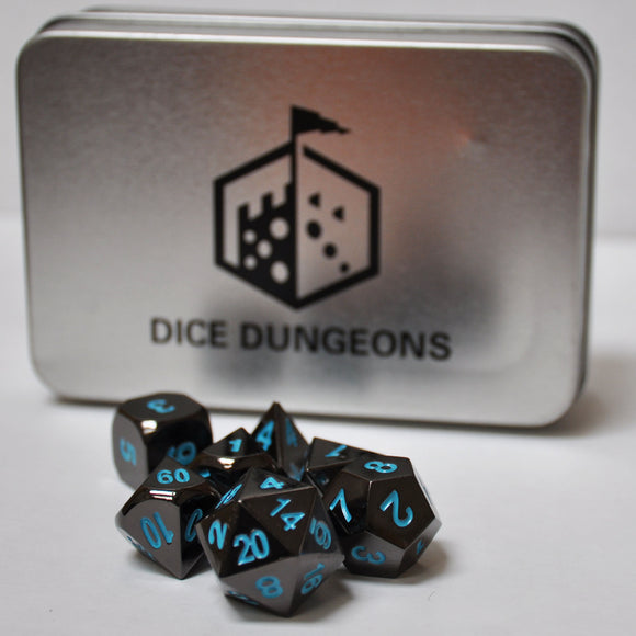 Dice Dungeons Black & Blue Metal Polyhedral Dice