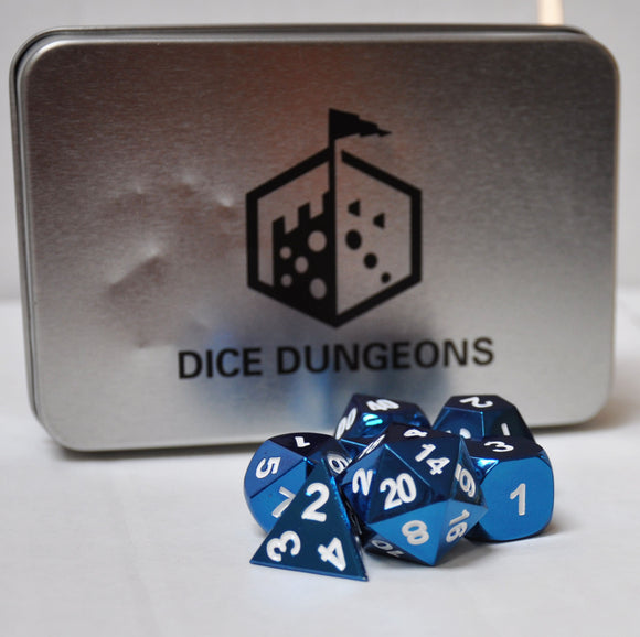 Blue & White Metal Polyhedral Dice