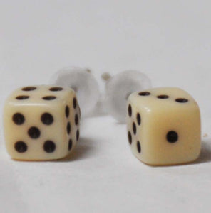 Small Ivory Dice Earrings
