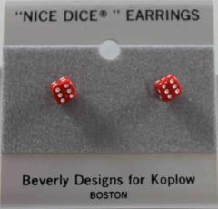 Small Red Dice Earrings