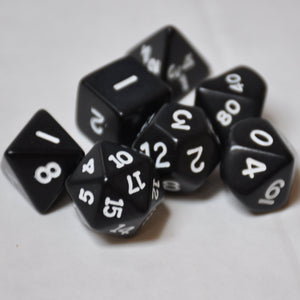 Koplow Games Opaque Black Polyhedral Die Set