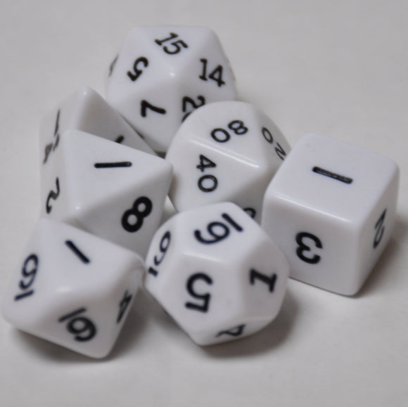 Koplow Games Opaque White Polyhedral Die Set