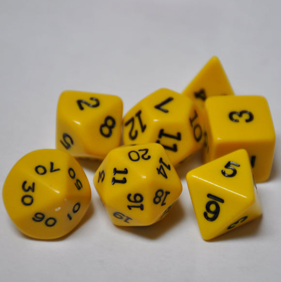 Koplow Games Opaque Yellow Polyhedral Die Set