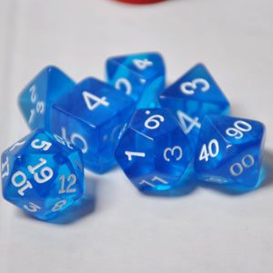Koplow Games Blue Transparent Polyhedral Die Set