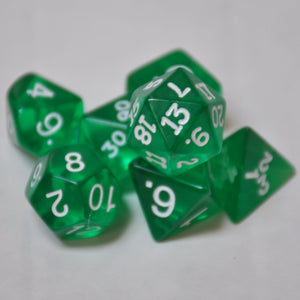 Koplow Games Green Transparent Polyhedral Die Set