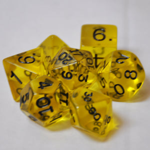 Koplow Games Yellow Transparent Polyhedral Die Set
