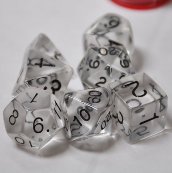 Koplow Games Clear Transparent Polyhedral Die Set
