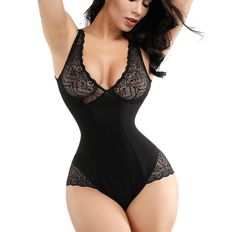 Sexy Deep V Bodysuit Women Full Body Girdle Shapers Leopard Bodies Control Tummy