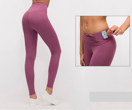 Super Stretchy Gym Tights Tummy Control Yoga Pants with Hidden Pocket High Waist Sport Leggings Push Up Running Pants Women