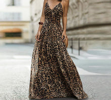 Load image into Gallery viewer, Spaghetti Strap Leopard Print Maxi Dress Women Feminino Long Dress Evening Party Chiffon Dress Autumn winter
