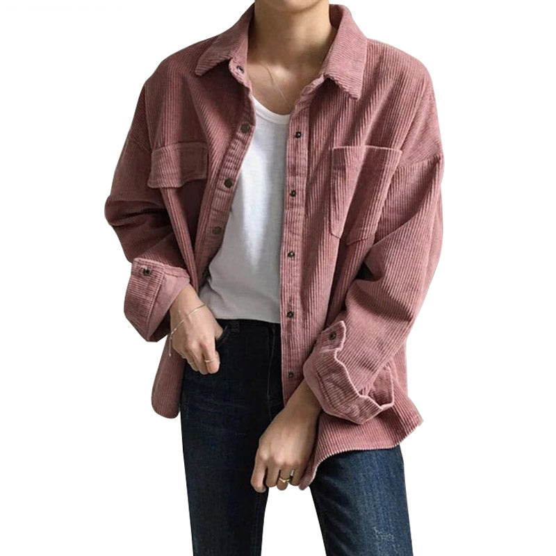 New Corduroy Jackets Women Winter Autumn Coats Plus Size Overcoats Female Big Tops Cute Jackets Solid Color Clothing