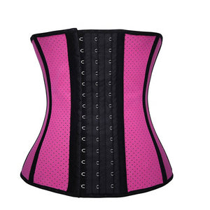 Breathable Latex Corset Waist Trainer Hollow Out  Steel Boned Belt