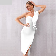 Load image into Gallery viewer, New Women Bandage One Shoulder Ruffles Bodycon Dress