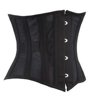 24 Steel Boned Corset Short Breathable Mesh Waist Trainer Cincher and Bustiers Plus Size 6XL