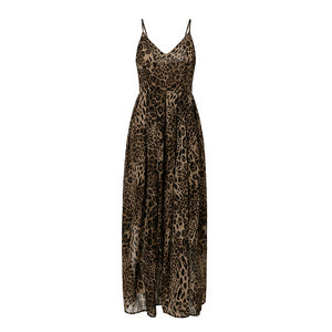 Spaghetti Strap Leopard Print Women Feminino Long Dress Evening Party Chiffon Dress Autumn winter