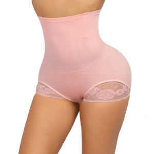 Seamless Shaping Panty Lace with 4 Bones High Waist Body Shaper Slimming Shapewear