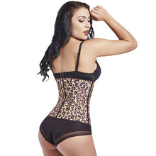 Load image into Gallery viewer, Women's Animal Print Workout Waist Cincher Latex Slimming Girdle Leopard Steel Boned Corset Waist Trainer