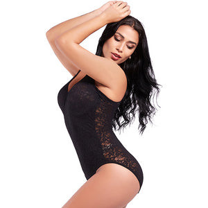 Women Lace Full Body Shaper Adjustable Bra Straps Bodysuit Slimming Underwire Tummy Control  Waist Trainer Shapewear