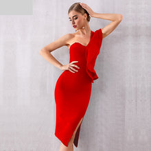 Load image into Gallery viewer, New Summer Women Bandage Dress Celebrity Evening Party Dresses Sexy One Shoulder Ruffles Bodycon Club Dress Vestidos