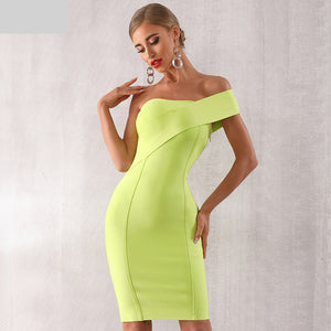 Summer One Shoulder Women Bandage Dress Sexy Sleeveless Bodycon Club Dress Vestido Celebrity Evening Party Dress