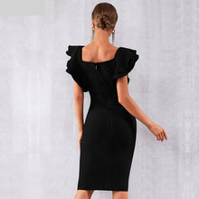 Load image into Gallery viewer, New Arrival Summer Women Celebrity Party Bandage Dress Vestido Sexy Black Ruffles Butterfly Sleeve Bodycon Club Dress