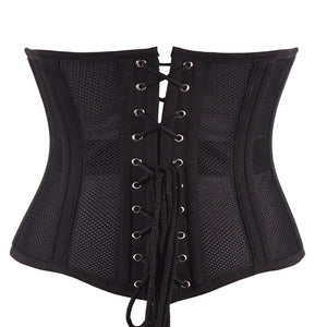 24 Steel Boned Corset Short Breathable Mesh Waist Trainer Cincher Underbust Gothic Corsets and Bustiers Plus Size 6XL