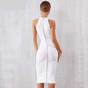New Summer White Women Bandage Dress Vestidos Elegant Tank Sexy Sleeveless Bodycon Club Dresses Celebrity Party Dress