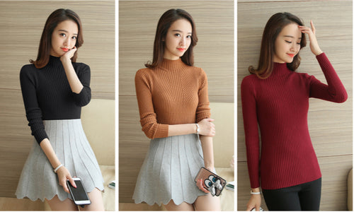 Turtleneck Sweater Women Fashion Autumn Winter Black Tops Women Knitted Pullovers Long Sleeve Jumper Pull