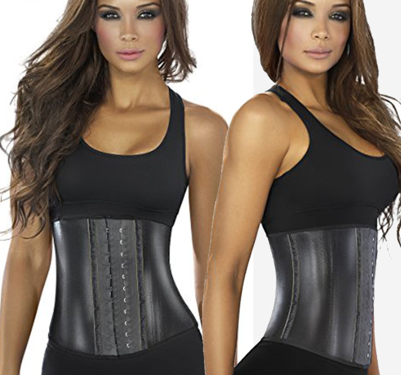 Latex Metallic Edition Waist Trainer Sweat Black Waist Cincher Fajas Women Corset