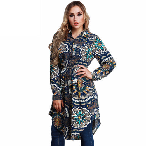 Large Size Tunics female Blouse Women Floral Print Shirts Spring Long Sleeve Asymmetric Tops Plus Size 3XL 4XL 5XL 6XL 7XL