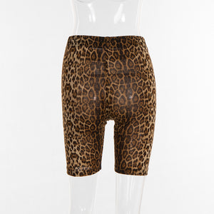 Leopard High Waist Shorts For Women Fitness Printing New Fashion Shorts Active Wear Sexy Hip Up Short pants For Fitness