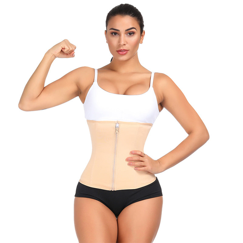 Women Double Layer Waist Trainer Corset Zipper Body Shaper for Weight Loss Girdle Top Tummy Underwear Shapewear