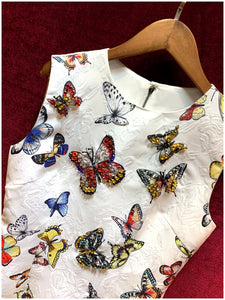 Runway Autumn Butterfly Printed Jacquard Dress Women's luxury Crystal Diamond Vintage Party Sleeveless Mini Dress