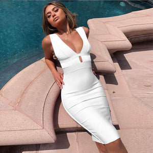 Women Cut Out Bodycon Sexy Double Deep V Neck Pink Bandage Dress