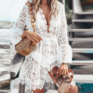 Deep v-neck bikinis Sexy White swimsuit female beach cover-up Lace see though beach wear Long sleeve elegant swimwear