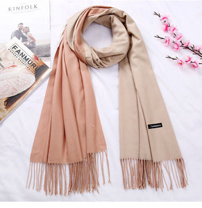 New Double Sided Winter Women Cashmere Solid Scarf Pashmina Shawls And Wraps Female Foulard Hijab Wool Stoles Head Scarves
