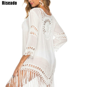 New Tassel Long Beach Dress Sexy Hollow Cover Ups Beach Wear Long-sleeved Swimsuits Women White Bathing Suits