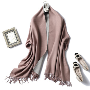 Winter Cashmere Scarf Women Thick Warm Shawls Wraps Lady Solid Scarves Fashion Tassels Pashmina Blanket quality foulard New