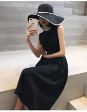 Load image into Gallery viewer, Summer Women Solid White Black Fashion Elegant Casual Party Dress O-neck Sleeveless Tank Sundress Female Vestido
