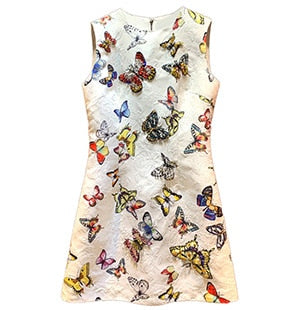 Runway Autumn Printed Women's luxury Diamond Vintage Sleeveless Mini Dress