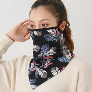 Women Print Face Scarf Winter Spring Mask Female Bandana Designer Warm Foulard Cotton Soft Neck Scarves Ring Wraps Cover