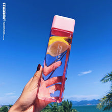 Load image into Gallery viewer, 500ml Cute New Square Tea Milk Fruit Water Cup for Water Bottles Drink with Rope Transparent Sport Heat Resistant