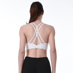 Women Sexy Back Sports Bra Solid Yoga Tank Top for Girls Fitness Push up Gym Shockproof Shirt Running Elastic Fast Dry Vest