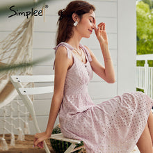 Load image into Gallery viewer, Women summer beach dress Bow-knot spaghetti embroidery female midi dress backless