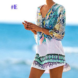 Plus size Chiffon Bohemian Strip Tunic for Beach Women Summer Holiday Loose Casual Dress