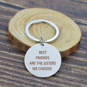 Metal Engraved Keychain Best Friends Quote Sisters Key Chain Silver Fashion Lettering Jewelry Soul Sister Pendant Gift for Women