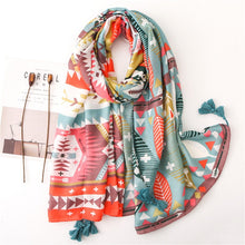 Load image into Gallery viewer, Head scarf New women spring autumn designer long bohemian soft print tassel shawl stole