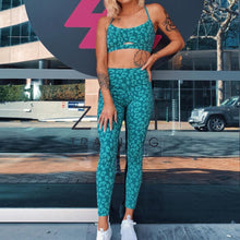 Load image into Gallery viewer, Leopard Workout Tracksuit Cropped Tank Top And Legging Pants 2 Pieces Set Summer Fashion Ladies Sexy Fitness Printed Suit Femme